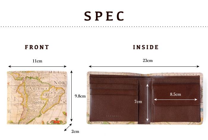 サイズや素材等、スペックの紹介。縦9.8cm、横11cm(閉じた状態)、厚さ2cm