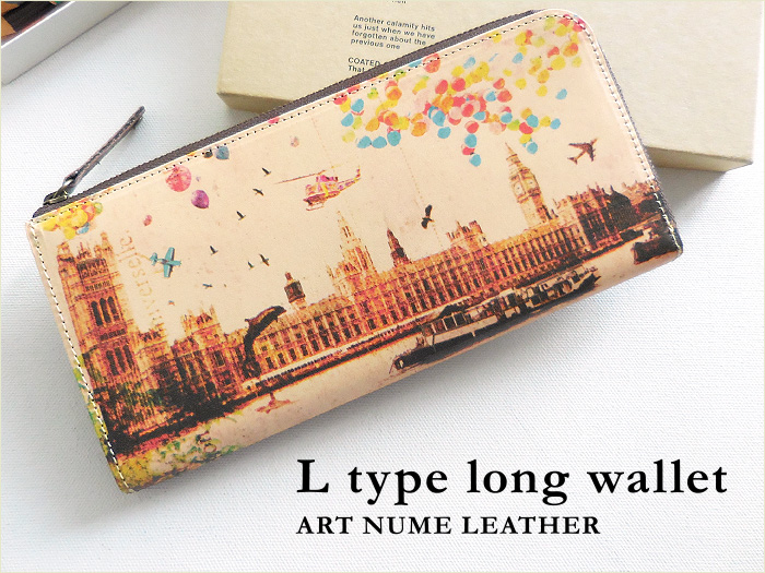 L型マチ付き L字ファスナー 長財布◆アートヌメレザー ノイジーロンドン
