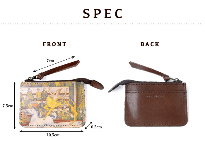 サイズや素材等、スペックの紹介。縦7.5cm、横10.5cm、厚さ0.5cm
