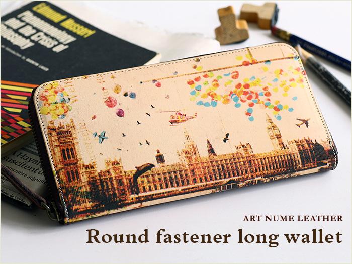 アートヌメレザーシリーズのラウンドファスナー長財布「ノイジーロンドン」柄です。