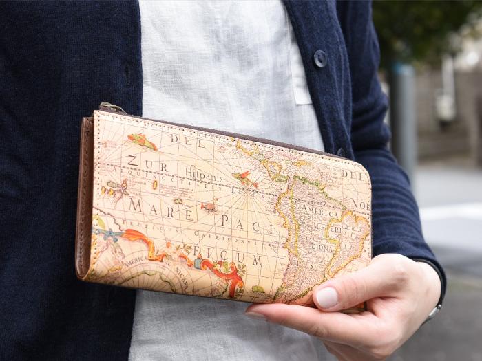 L型マチ付き L字ファスナー 長財布◆アートヌメレザー マップ