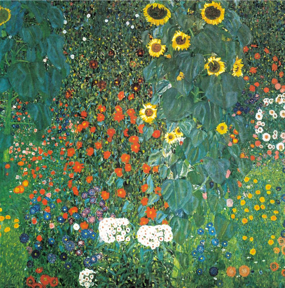 デザイン:グスタフ・クリムト「ヒマワリの咲く農家の家」(Farm Garden with Sunflowers)1905-1906