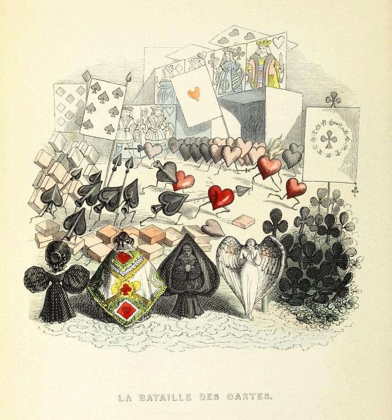デザイン:J.J.グランヴィル「カードの戦い」(La bataille des cartes.)