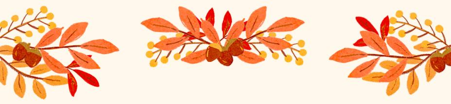 木の実と紅葉した葉