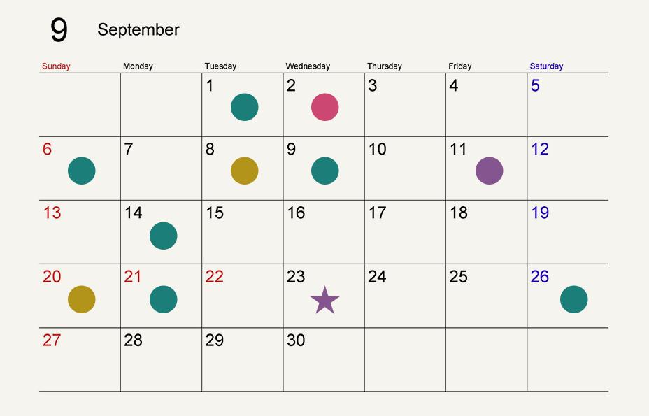 9月の寅の日は8日、20日。一粒万倍日は1日、6日、9日、14日、21日、26日。天赦日は2日。巳の日は11日。己巳の日は23日。
