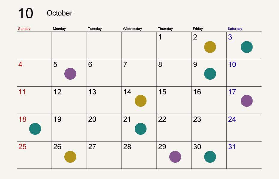 10月の寅の日は2日、14日、26日。一粒万倍日は3日、9日、18日、21日、30日。巳の日は5日、17日、29日。