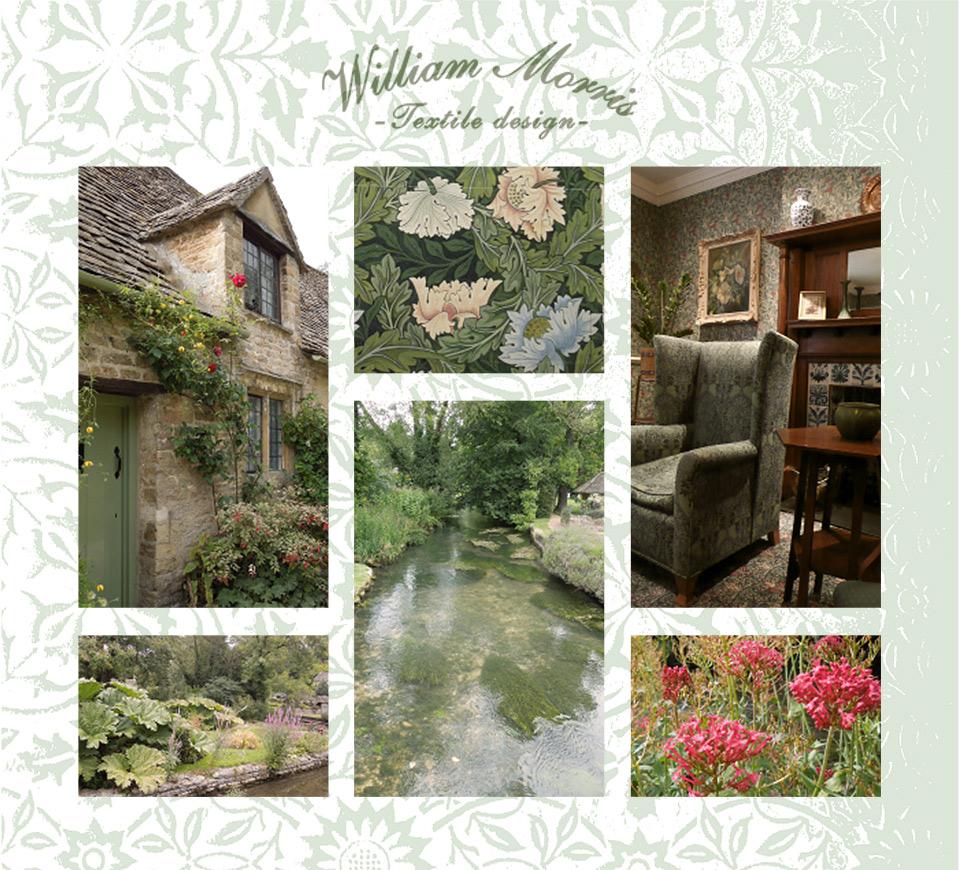 William Morris textile design 英国庭園、英国テキスタイルデザインイメージ