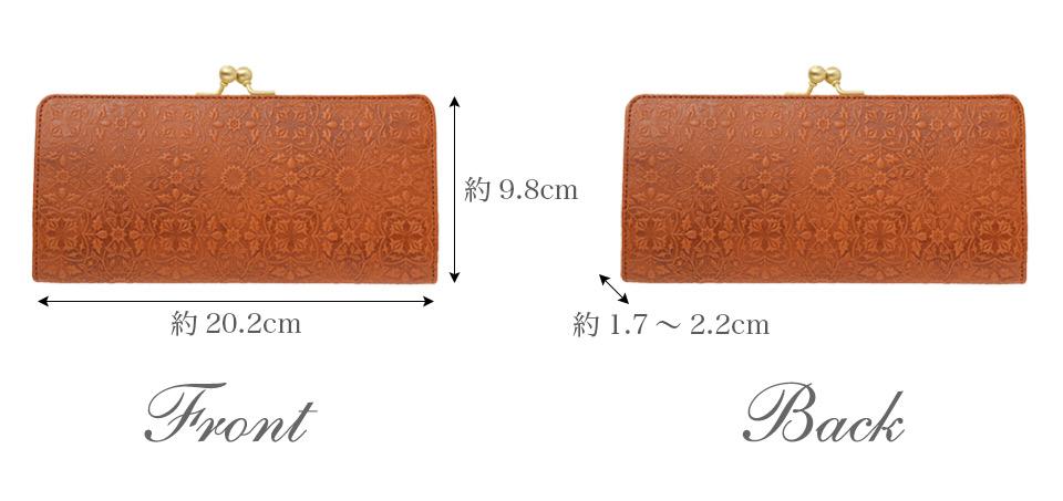 モリス スリムガマグチ長財布 各部のサイズ