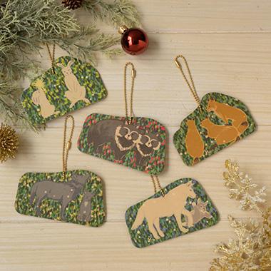 クリスマスオーナメント<森のクリスマス うさぎ・おおかみ(くろ)・おおかみ(しろ)・きつね・たぬき>