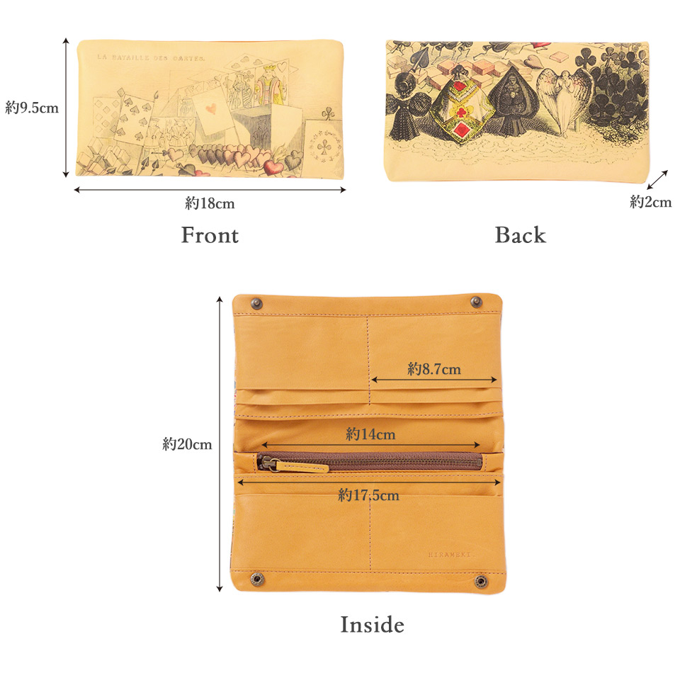 ラウンド 長財布の各部サイズの詳細
