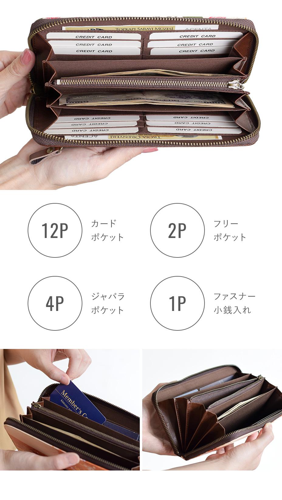 機能:カードポケット12P フリーポケット2P ジャバラポケット4P ファスナー小銭入れ1P