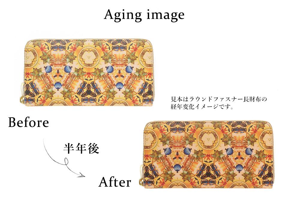 Aging image ラウンドファスナー長財布を半年使用した際の経年変化イメージ