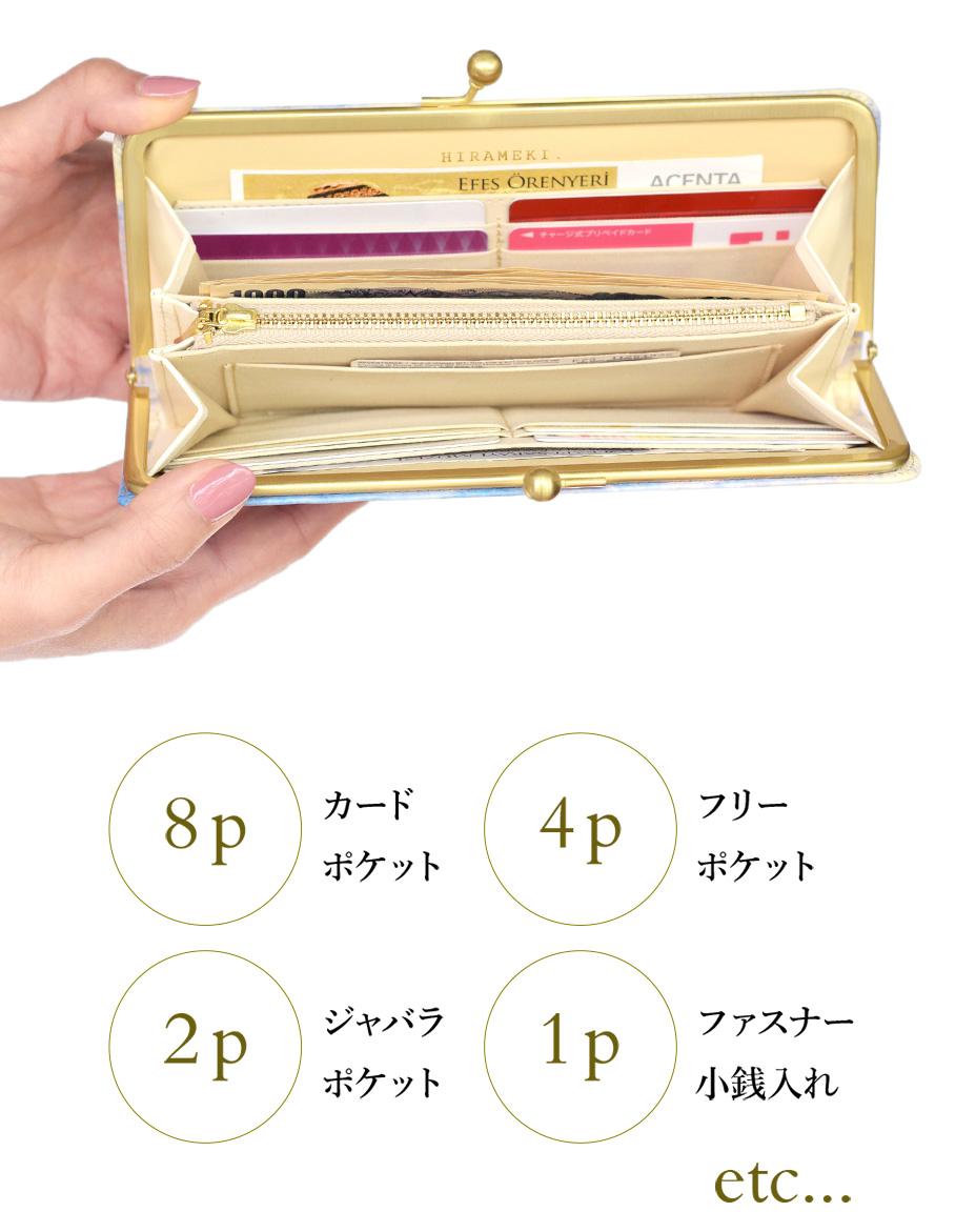 カードやお札収納時のイメージ。カードポケット8p フリーポケット4p ジャバラポケット2p ファスナー小銭入れ1p