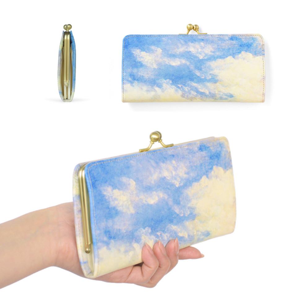 閉じた状態のスリムガマグチ長財布を手に持った際のイメージ
