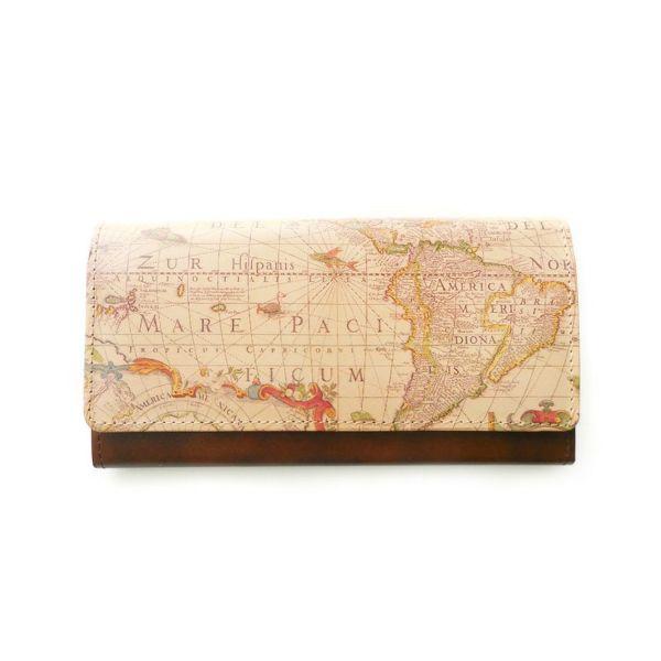 アートヌメレザー◆長財布 アンティークマップ