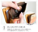 外側に付いた小銭入れは、L字に口が開くので、中の小銭が見やすく、お会計もスムーズです。